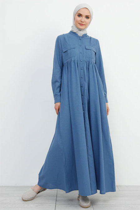 Refka İndigo Doğal Kumaşlı Keten Elbise