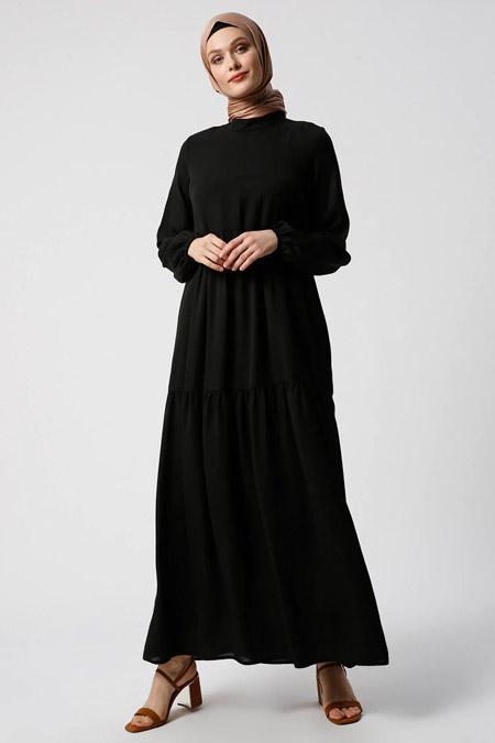 Refka Siyah Kol Ucu Lastikli Salaş Elbise