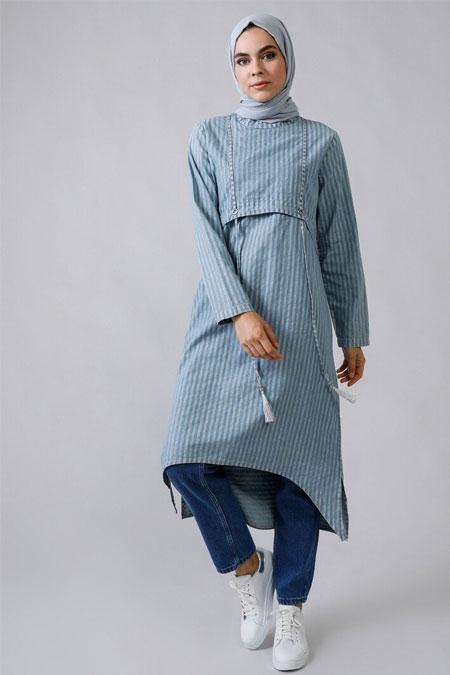 Refka Kot Mavi Doğal Kumaşlı Asimetrik Tunik