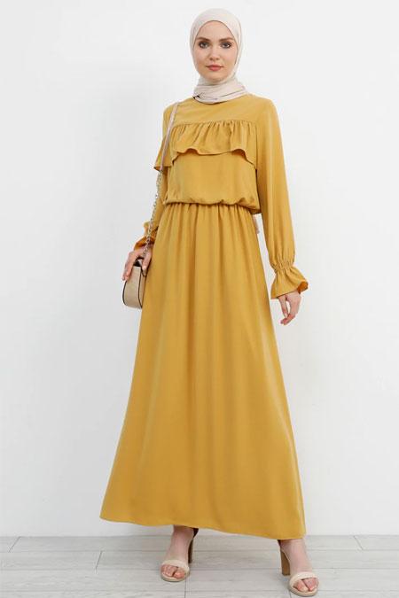 Refka Safran Volan Detaylı Elbise