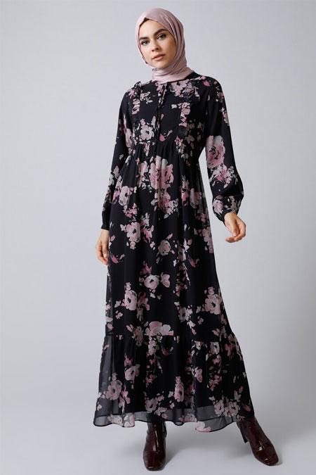 Refka Siyah Çiçekli Şifon Elbise