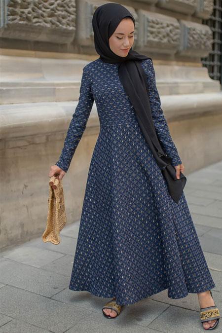 Sazze Design Lacivert Simli Elbise