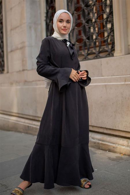 Sazze Design Siyah Volanlı Elbise