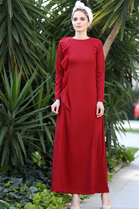 Selma Sarı Design Bordo Valon Detaylı Düz Elbise