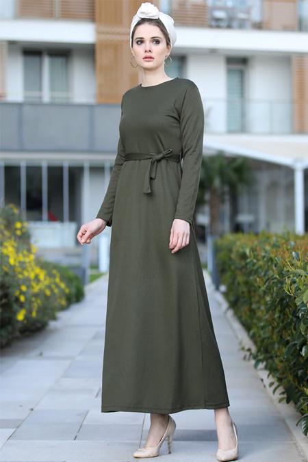 Selma Sarı Design Haki Düz Basic Likralı Elbise