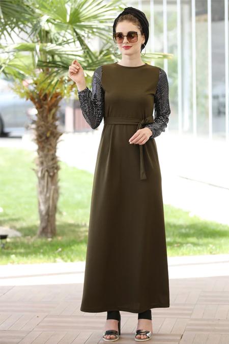 Selma Sarı Design Haki Pileli Salaş Elbise
