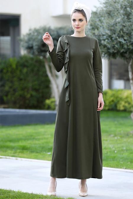 Selma Sarı Design Haki Valon Detaylı Düz Elbise