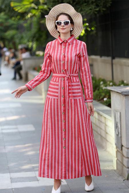 Selma Sarı Design Kırmızı Çizgili Gömlek Elbise