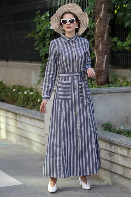 Selma Sarı Design Lacivert Çizgili Gömlek Elbise