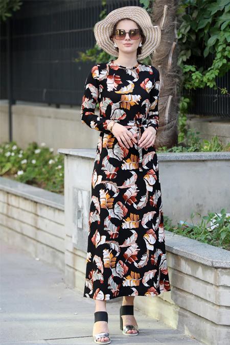 Selma Sarı Design Siyah Yavruağzı Lale Elbise