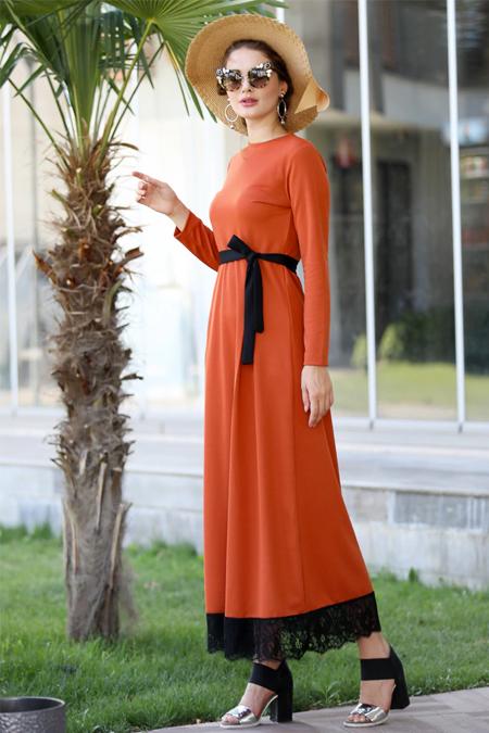 Selma Sarı Design Taba Eteği Dantelli Elbise