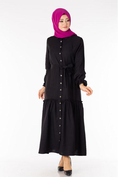 Siyah Fırfırlı Kuşaklı Tesettür Elbise