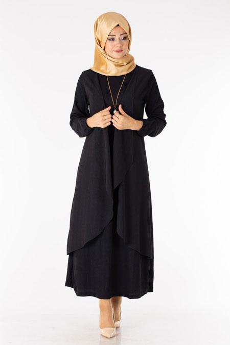 Siyah Tesettür İkili Kombin Elbise Hırka