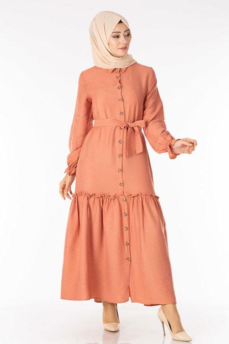 Somon Fırfırlı Kuşaklı Tesettür Elbise
