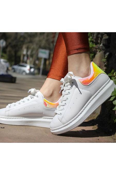 TRANTA SHOES Beyaz Hologram Ayakkabı