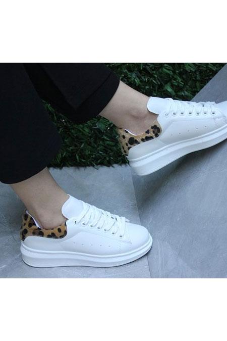 TRANTA SHOES Beyaz Leopar Ayakkabı