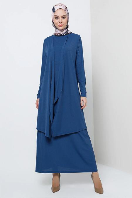 Tavin İndigo Yelek&Elbise İkili Takım