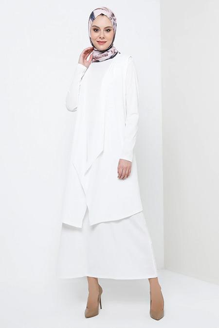 Tavin Ekru Yelek&Elbise İkili Takım