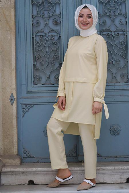 Zehrace Sarı Robadan Tunik & Pantolon İkili Takım