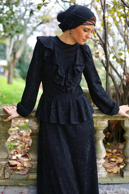 Al Tatari Siyah Volanlı Abiye Elbise