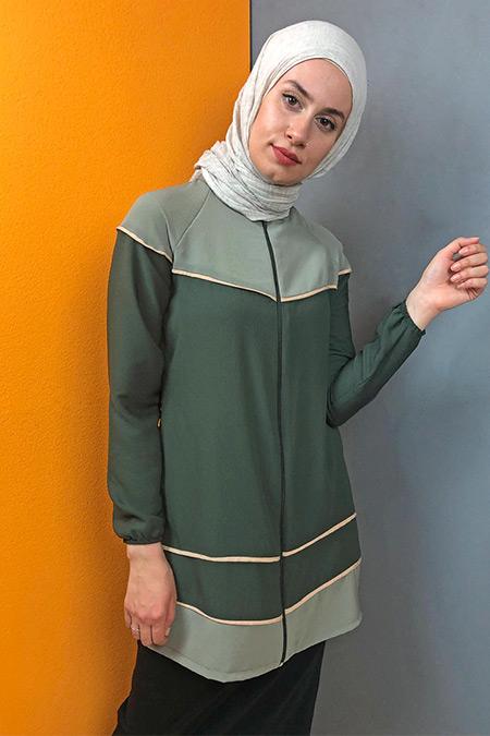 Aydazen Küf Yeşili Reglan Kol İki Renkli Tunik