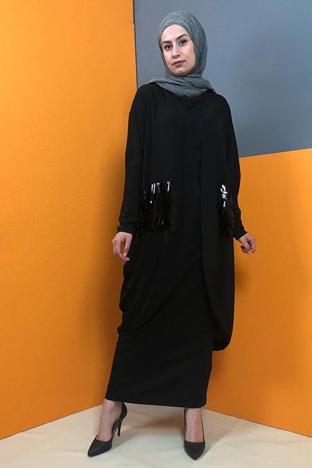 Aydazen Siyah Bürümcük Salaş Hırka