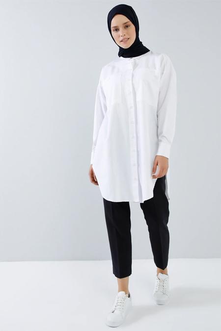Benin Beyaz Cep Detaylı Düğmeli Tunik