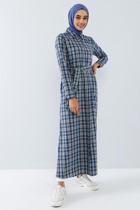Benin Derin Mavi Boydan Gizli Düğmeli Cep Detaylı Elbise
