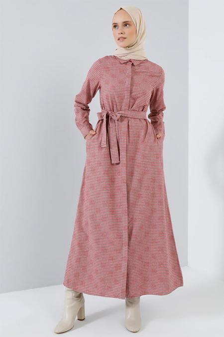 Benin Kırmızı Boydan Gizli Düğmeli Cep Detaylı Elbise