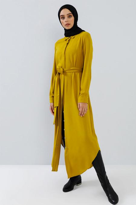 Benin Safran Doğal Kumaşlı Gizli Düğmeli Tunik Elbise