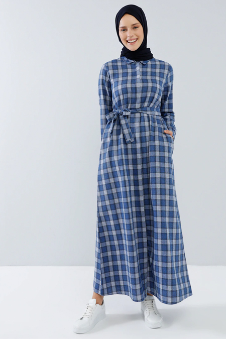 Benin Saks Boydan Gizli Düğmeli Cep Detaylı Elbise