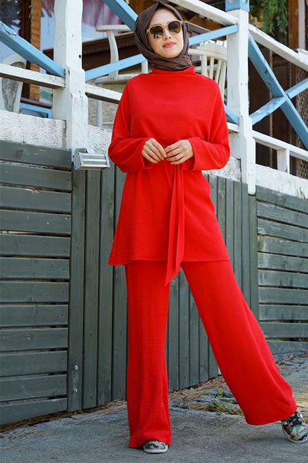 Gamze Özkul Kırmızı Sude Tunik Pantolon Takım