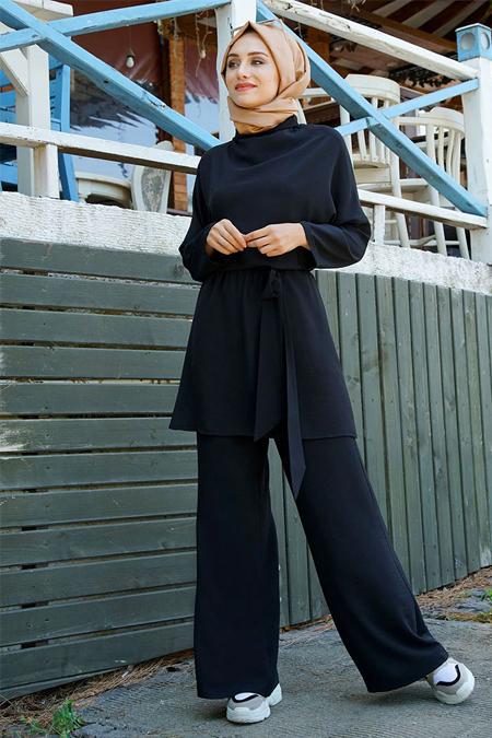 Gamze Özkul Siyah Sude Tunik Pantolon Takım
