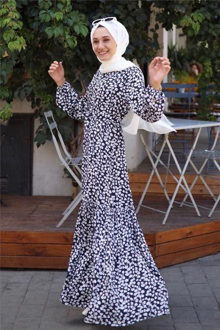 Gizce Lacivert Elbise
