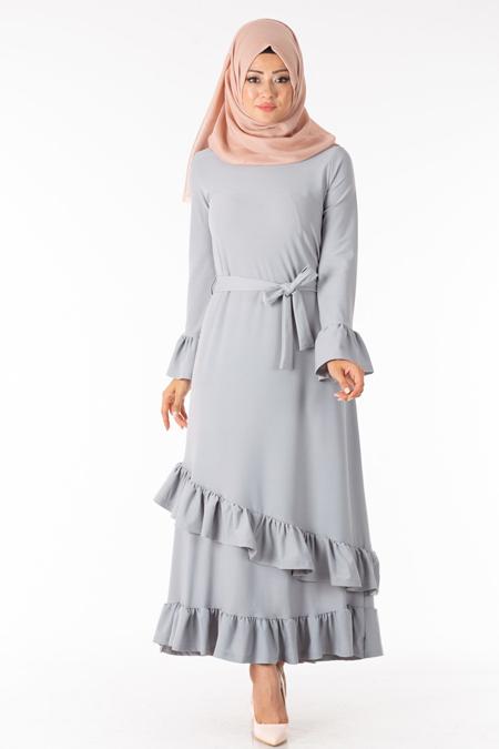 Gri Fırfırlı Kuşaklı Tesettür Elbise