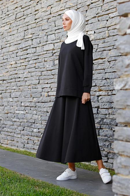 İnşirah Siyah Tunik & Etek İkili Takım