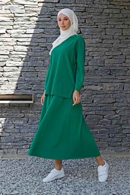 İnşirah Yeşil Tunik & Etek İkili Takım