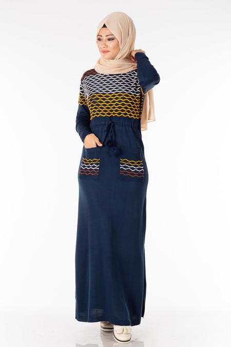 Lacivert Cepli Nakışlı Tesettür Elbise