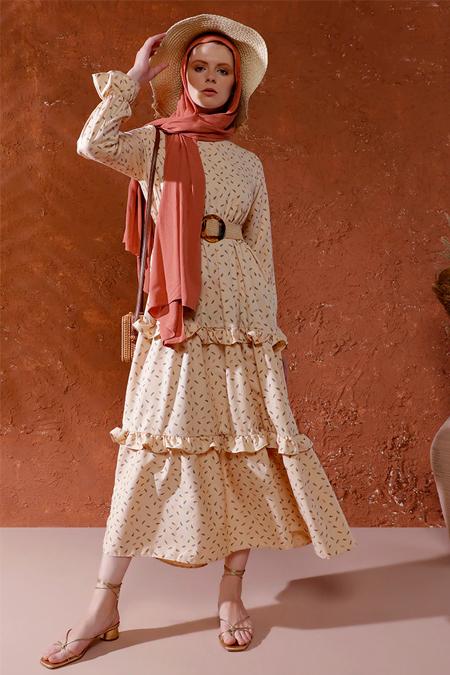 Mnatural Bej Desenli Elbise