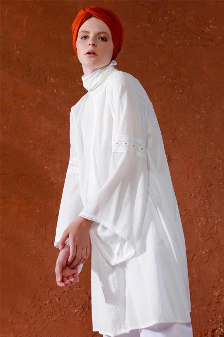 Mnatural Beyaz Papatya Detaylı Tunik