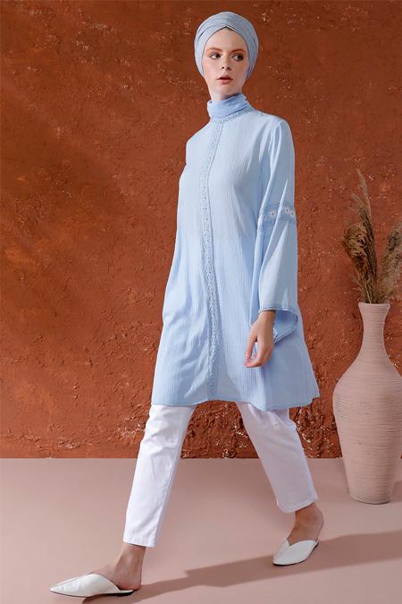 Mnatural Mavi Papatya Detaylı Tunik