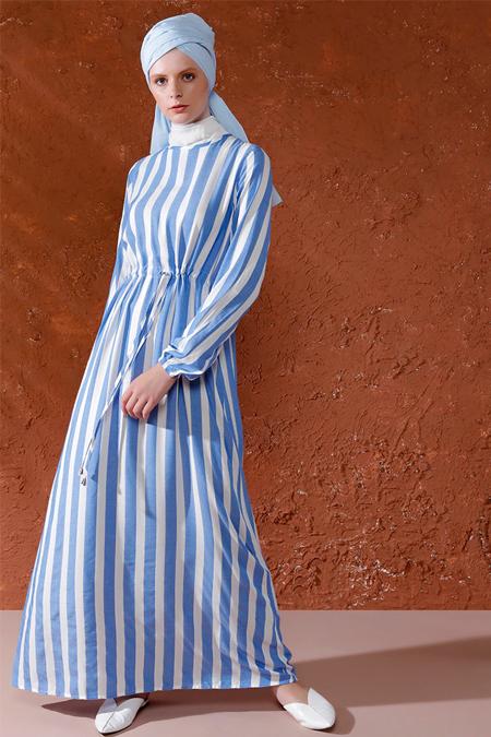 Mnatural Mavi Renkli Şeritli Elbise