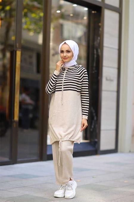 ModaBahar Bağcık Detaylı Çizgi Desen Tesettür Takım