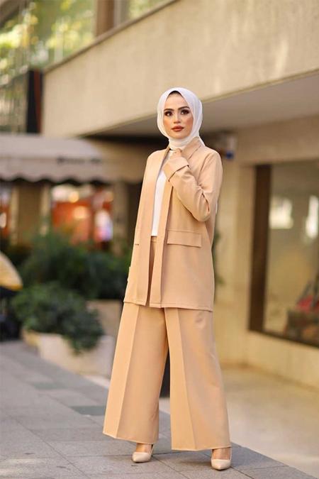 ModaBahar Camel Bol Paça Pantolon Ceket Bluz Kombin