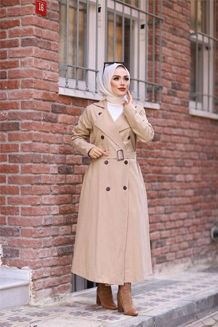ModaBahar Kruvaze Yaka 8 Düğme Tesettür Trençkot