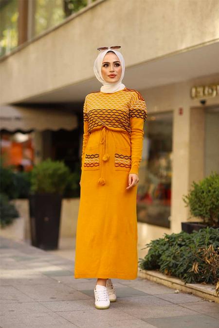 ModaBahar Sarı Örgü Desen Tesettür Triko Elbise