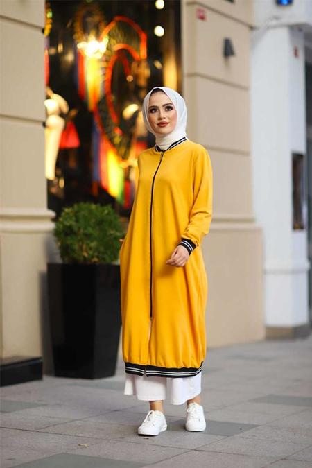 ModaBahar Sarı Tesettür Kolej Tunik