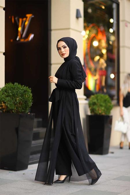 ModaBahar Siyah Tül Detaylı Tesettür Tulum