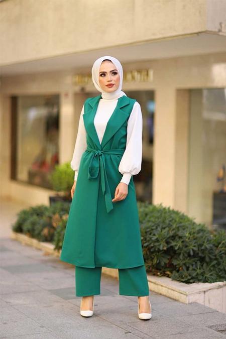 ModaBahar Yeşil Yelekli Dört Parça Tesettür Takım