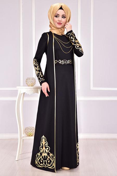 Modamerve Aplik Yelekli Siyah Elbise
